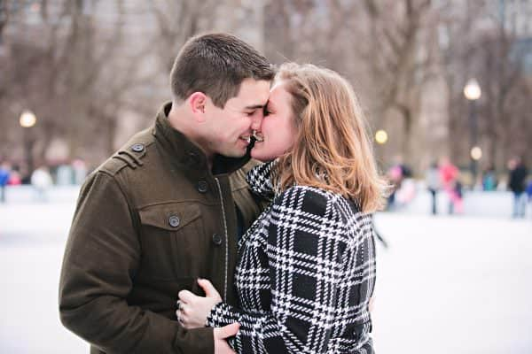 Boston Commons Frog Pond wedding proposal ice skating