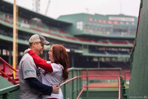 Boston Fenway Park Baseball themed Red Sox and Yankees engagement Session photos