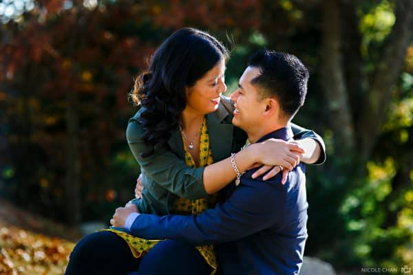 Fall Boston engagement session photos with colorful foliage