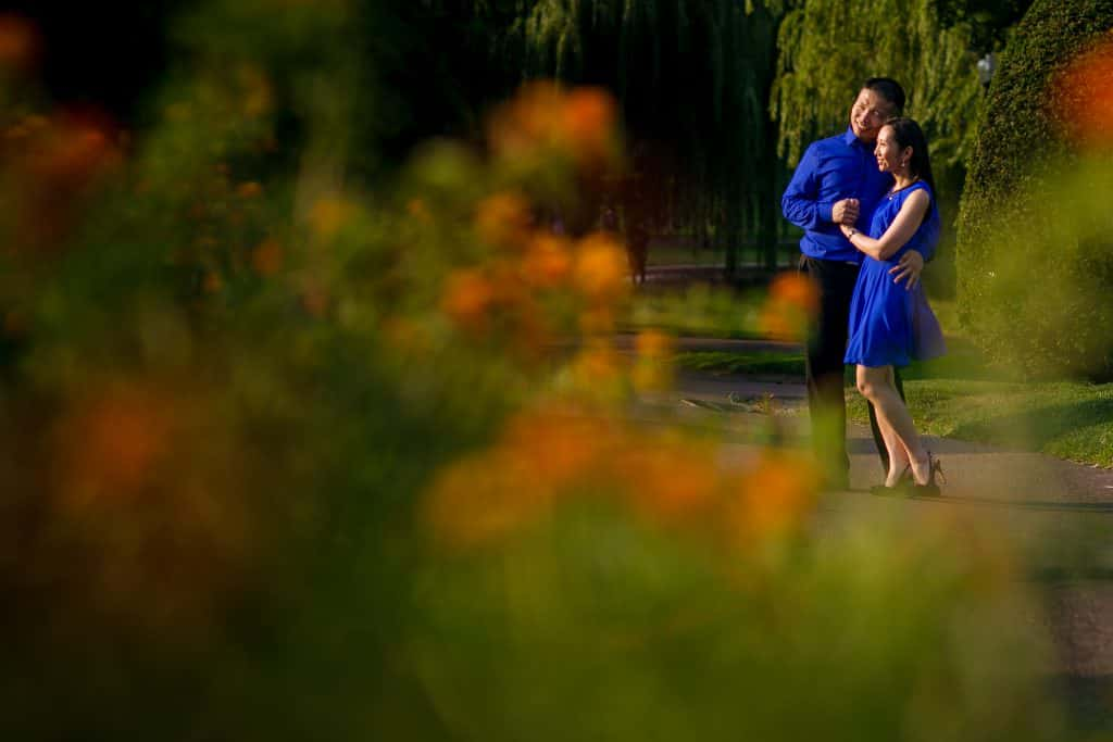 Boston Commons and Beacon Hill engagement session photos in the summer
