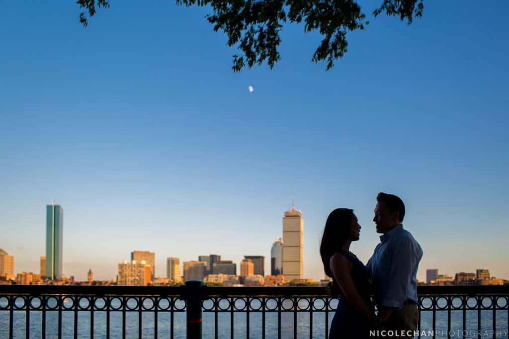 Boston Charles River skyline engagement session photos