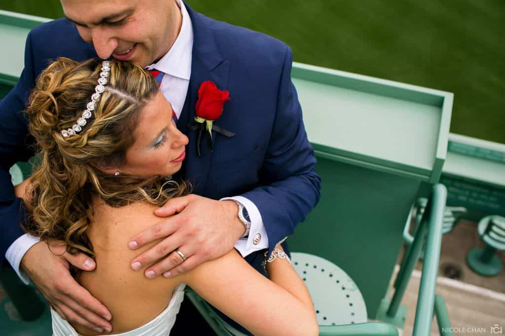 Fenway park wedding photos in Boston, MA. Red Sox themed wedding photos