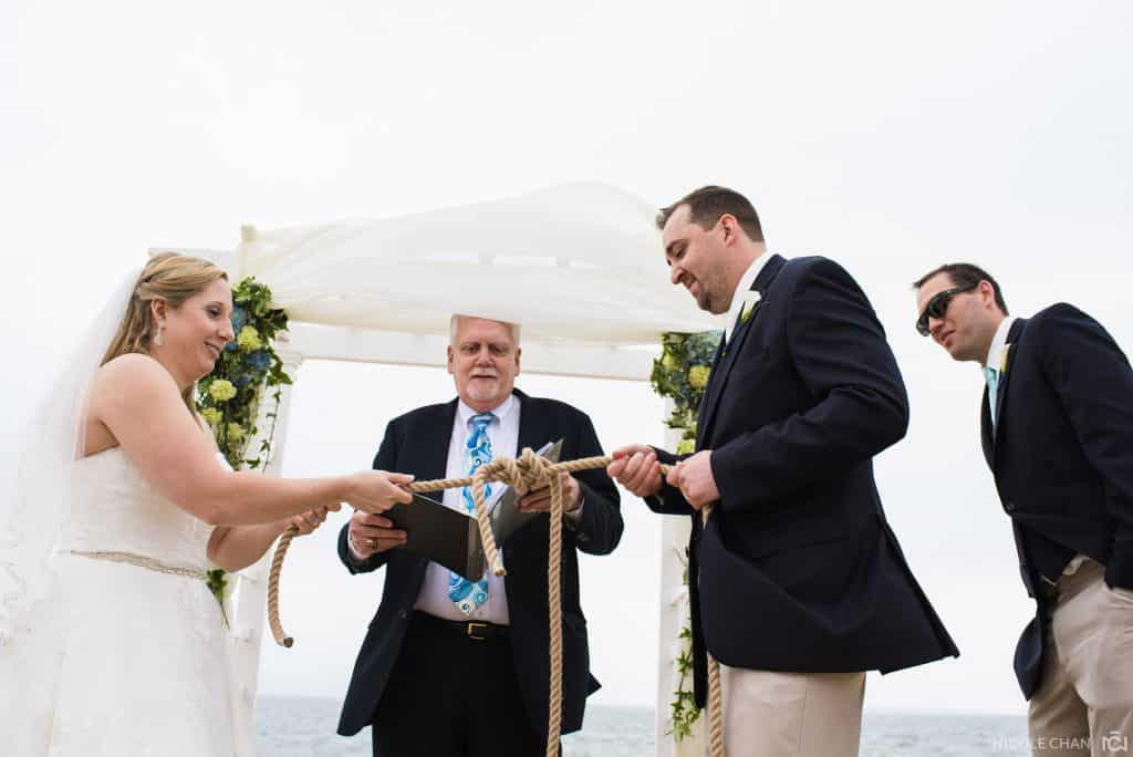 outdoor cape cod wedding ceremony and Flying Bridge wedding photos