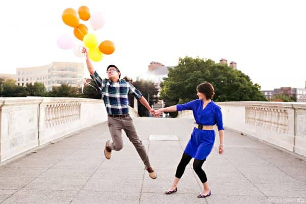 Cambridge, MA engagement photos with balloons