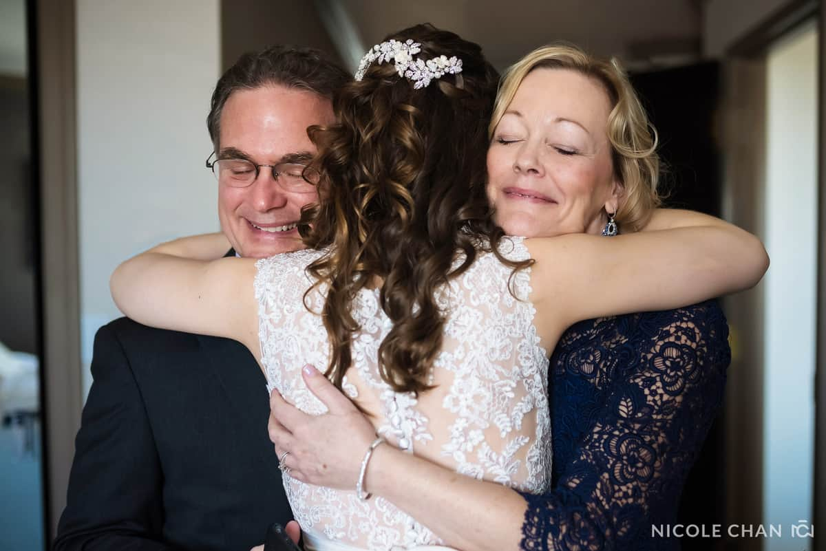 Bride and her parents at Gardens at Elm Bank Wedding by Nicole Chan Photography