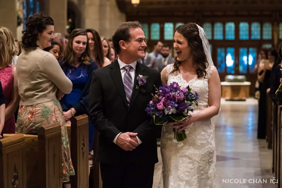 Emotional bride and father  walk down the aisle at St. Ignatius Parish wedding, on Boston College's Campus