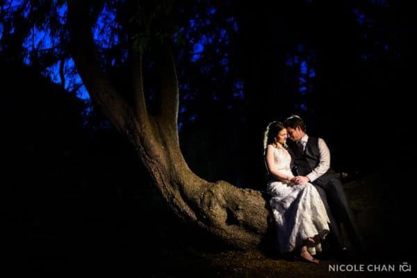 Night reception portraits at Gardens at Elm Bank Wedding reception by Nicole Chan Photography