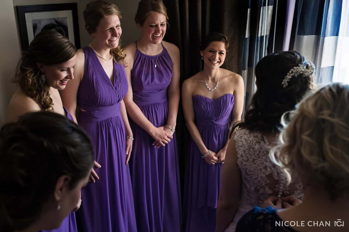 Purple bridesmaids dresses at Gardens at Elm Bank Wedding by Nicole Chan Photography