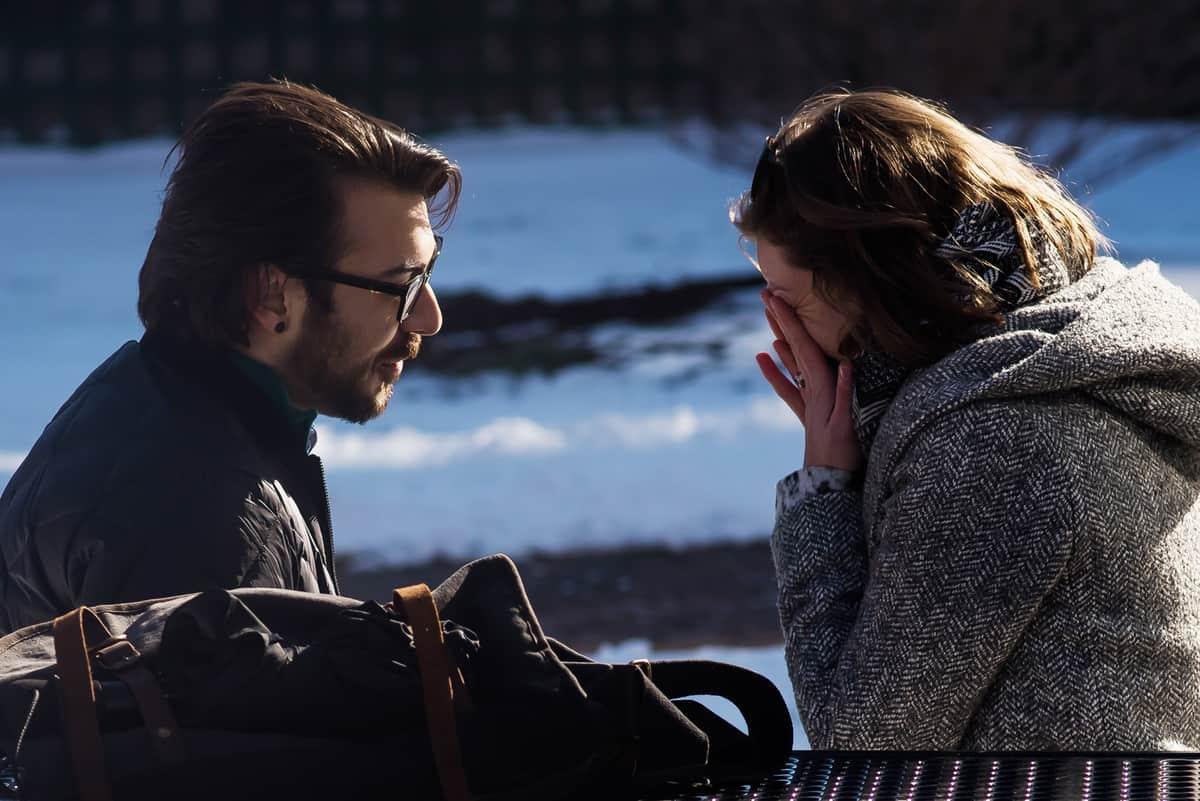 Winter Cambridge Boston rooftop marriage proposal