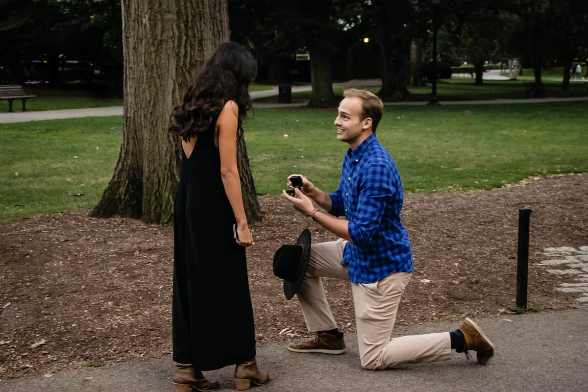 Surprise Boston Proposal Photos in Boston Common by Nicole Chan Photography