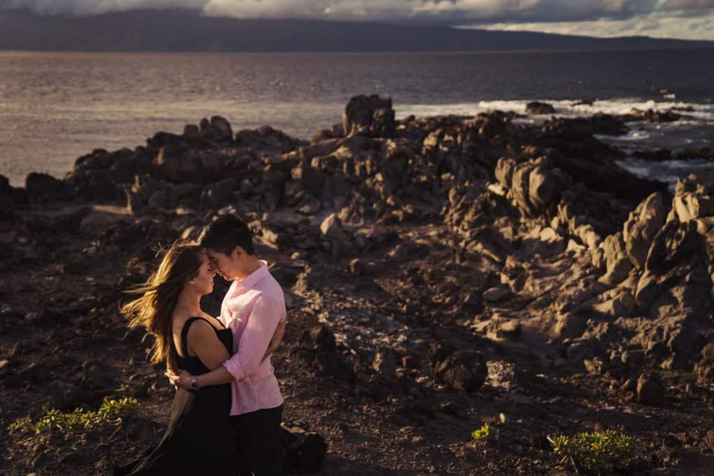 Oneloa Beach IRONWOOD Engagement session photos on Maui, Hawaii Wedding Photographer Nicole Chan