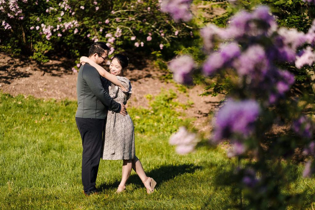 Arnold Arboretum Engagement Photos with lilacs