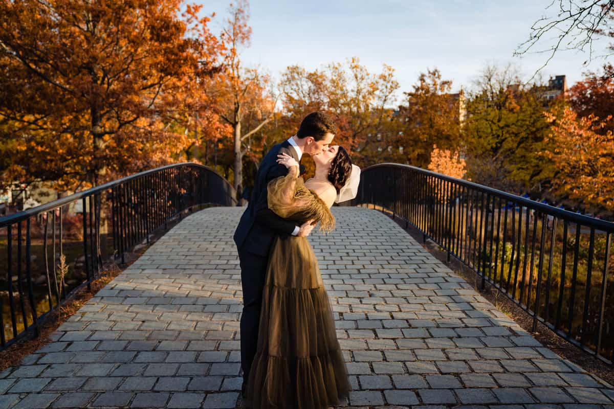 boston fall wedding photos at the Esplanade Charles River bridge