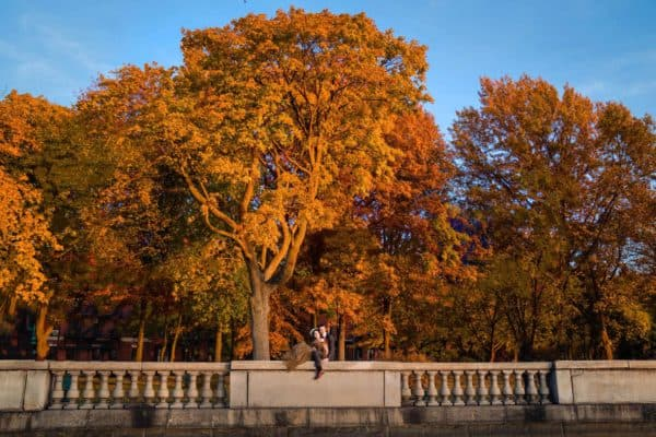 boston fall wedding photos at the Esplanade Charles River