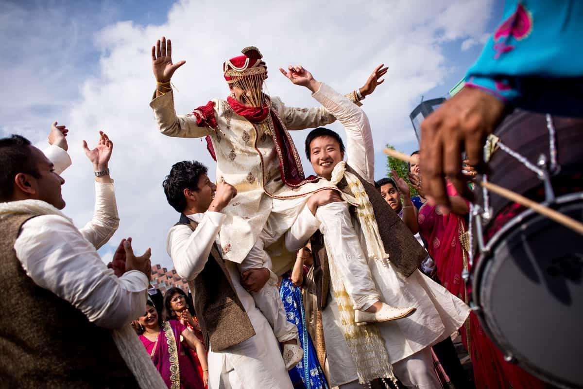 Boston Indian baraat wedding ceremony by Best Boston Indian wedding photographer Nicole Chan Photography